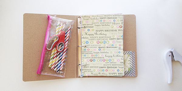 Personalized travel-sized arts & crafts binder