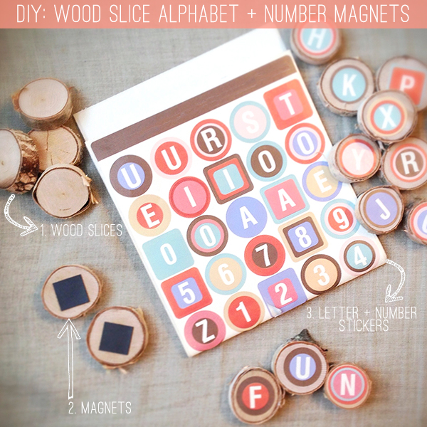 DIY wood slice alphabet magnets